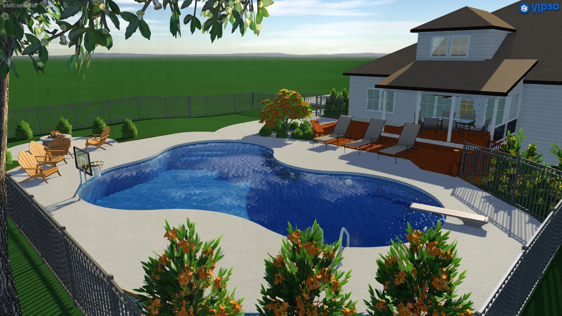 Raleigh landscape design 3d pool spa services choice p s for Pool design raleigh nc